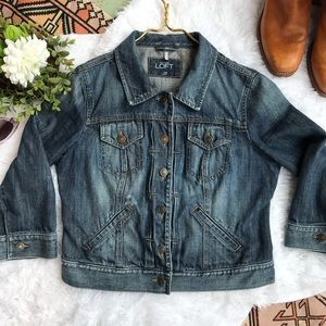 LOFT | Cropped Sleeve Denim Jacket
